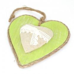 Zelené plné srdiečko so špagátom