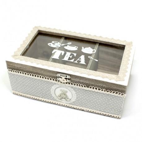 Drevená krabička na čaj s macíkom