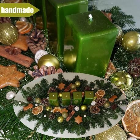 Pozdĺžny adventný veniec z čečiny z normandskej jedle - zelený